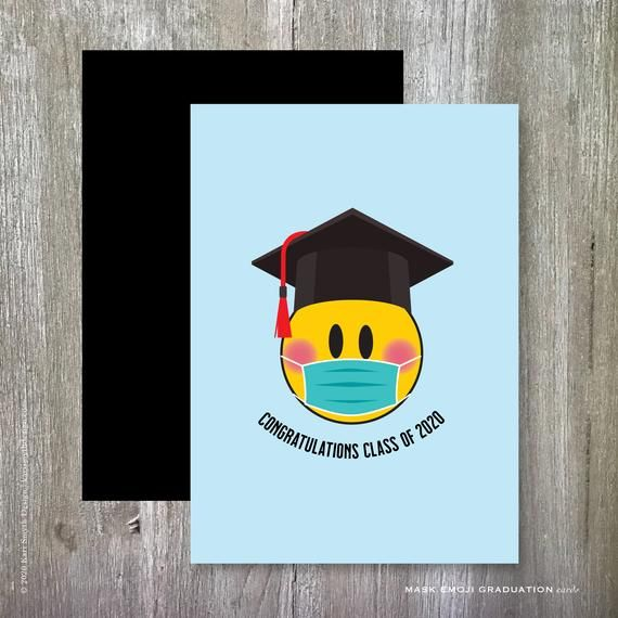 Congratulations Class Of 2020 Mask Emoji Graduation Card Printable Downloads Two Sizes Included In 2020 Graduation Cards Handmade Graduation Cards Graduation Diy