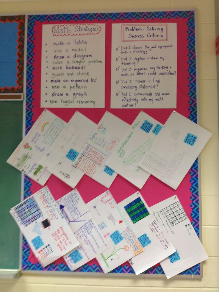 Grade 7 math strategies for partner problem solving. Student created success criteria