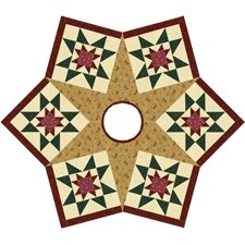 Rising Star Tree Skirt | Rotary Cutting and one Star template help speed up cutting and sewing this elegant tree skirt.