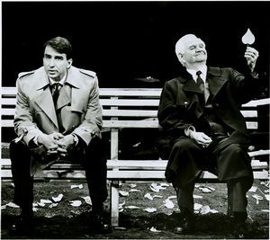 "Sam Waterston and Robert Prosky in ""A Walk in the Woods"" by Lee Blessing, produced by Lucille Lortel in association with American Playhouse Theatre Productions and Yale Repertory Theatre, Booth Theatre, 1988; photo by Peter Cunningham."