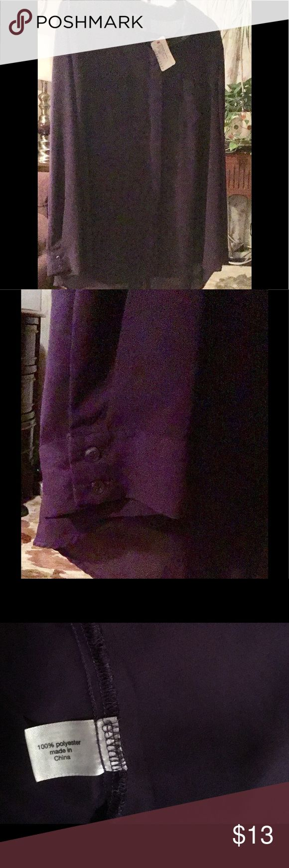 Purple Tunic style top Button down front and button cuffs. Shear with lining. 100 percent polyester.  The back of the shirt has a slit just like a pencil skirt  I tried to get a good picture.  Hard with dark colors.  Excellent condition. No stains. No rips.  Never worn. Tag attached. Lane Bryant Tops Tunics