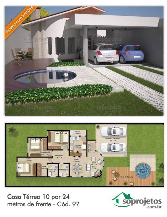 Esta casa térrea tem um modelo versátil, podendo se adaptar facilmente a qualquer terreno, com três quartos sendo uma suite. Com sala de estar jantar conjugadas, ótima cozinha, com área de serviço e garagem pra dois carros.