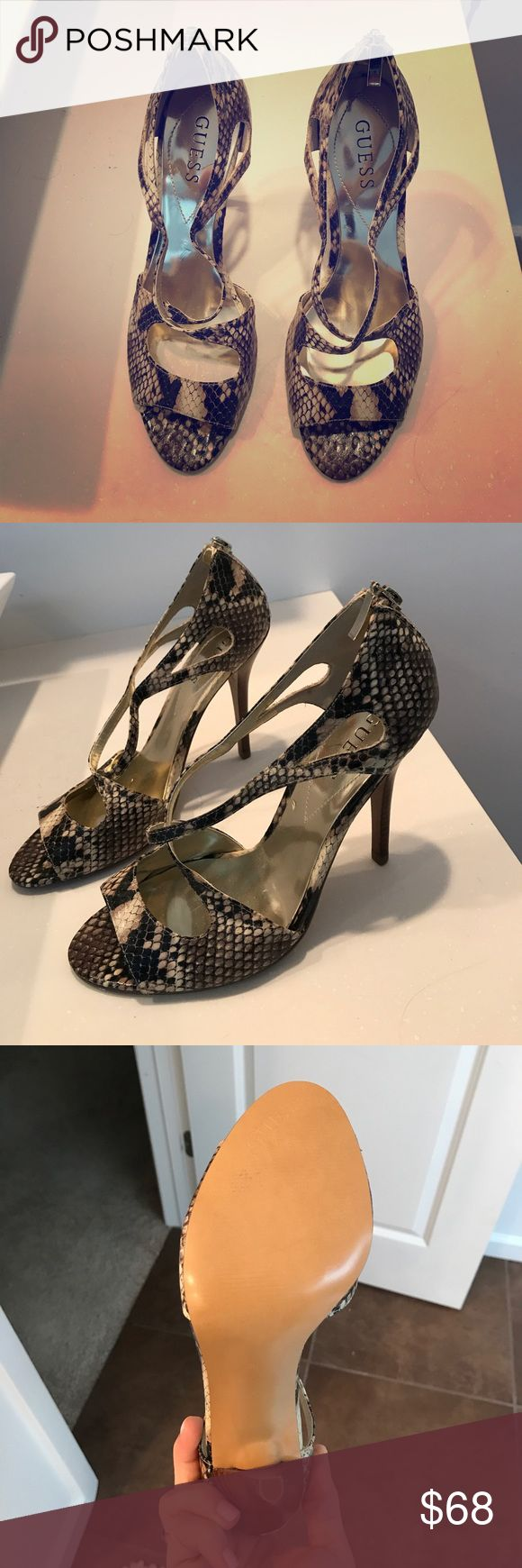 Snakeskin Heels Strappy Snakeskin Heels, never worn! Guess Shoes Heels