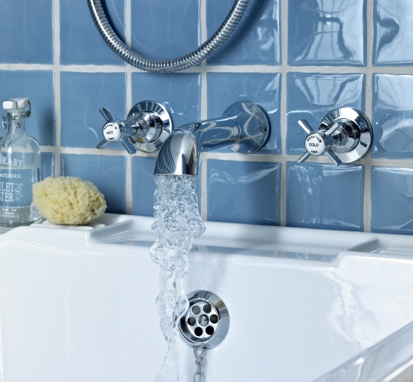 Bensham wall mounted bath spout and wall stop taps - £149 http://www.bathstore.com/products/bensham-chrome-wall-mounted-bath-spout-and-wall-stop-taps-701.html