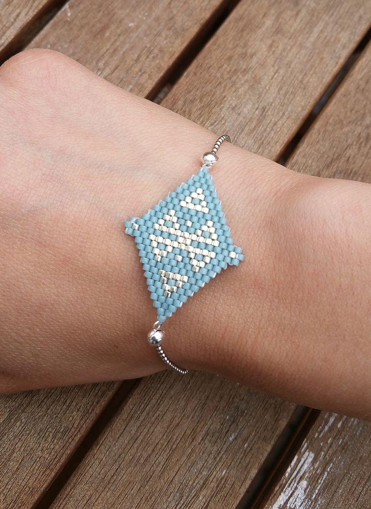 Bracelet en perles Miyuki, argenté et bleu