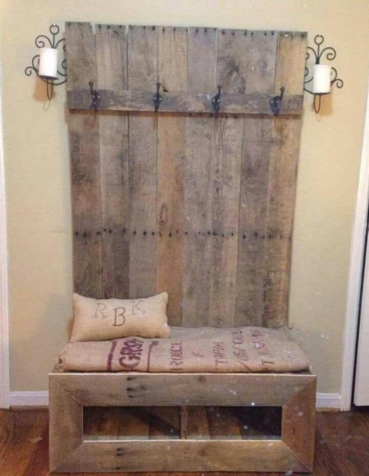 Coat rack with bench