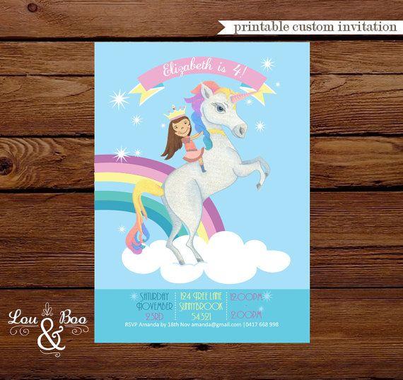 Invitación del partido para imprimir cumpleaños arco iris unicornio Custom - invitación del cumpleaños del unicornio