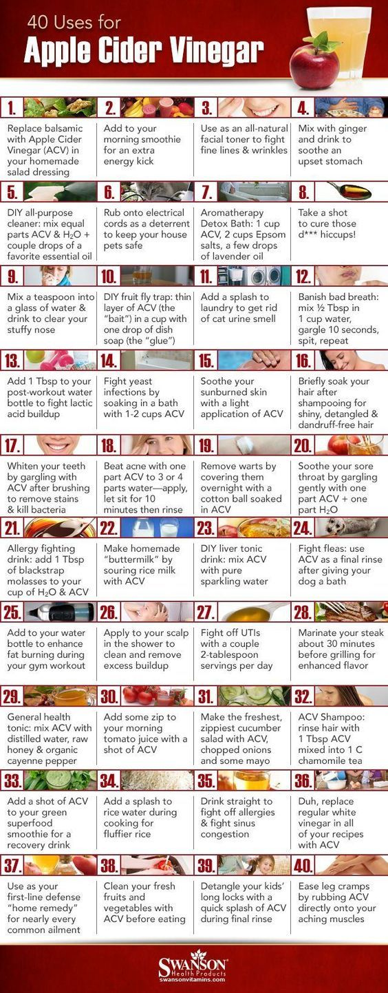 40 Ways to Use Apple Cider Vinegar #infographic #applecidervinegar #naturalremedies