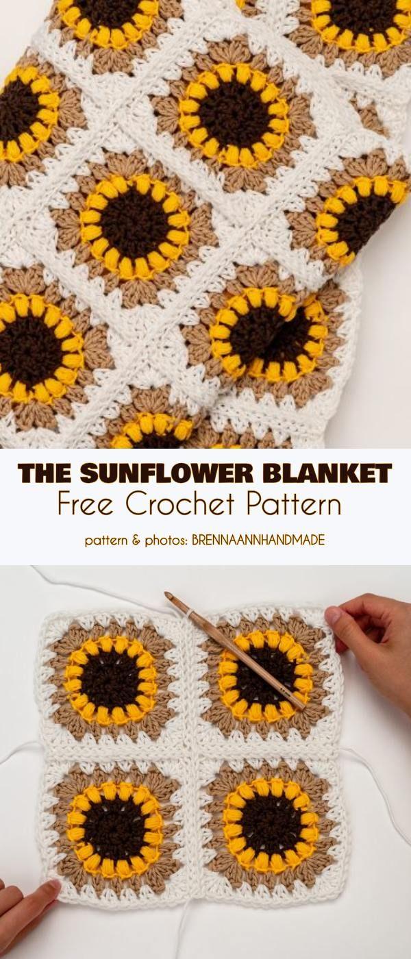 The Sunflower Blanket Free Crochet Pattern Free Crochet Crochet Sunflower Crochet