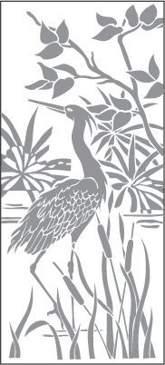 Glass etching stencil of Crane Wading in Pond. In category: Flowers, Water Fowl