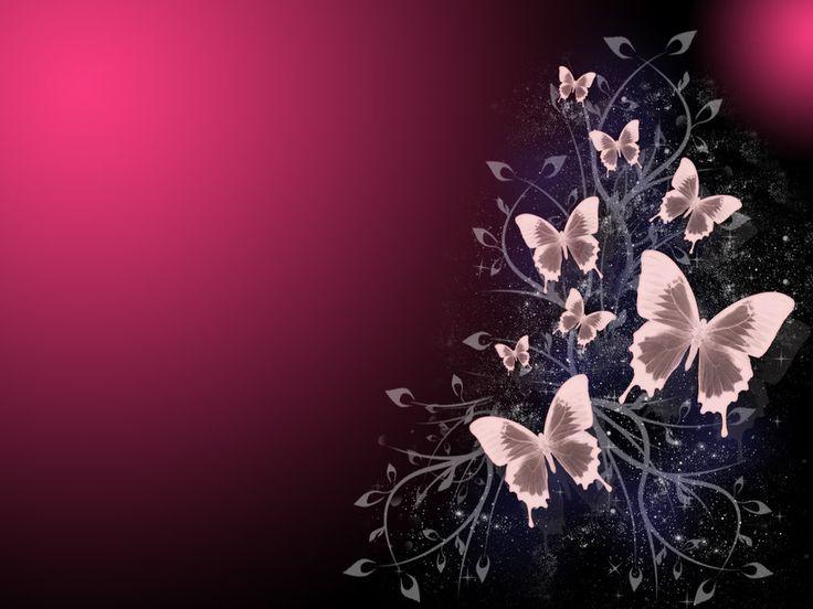 Red Black Background W Butterflies