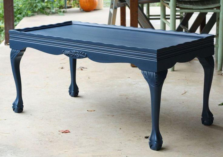 painted dark blue coffee table