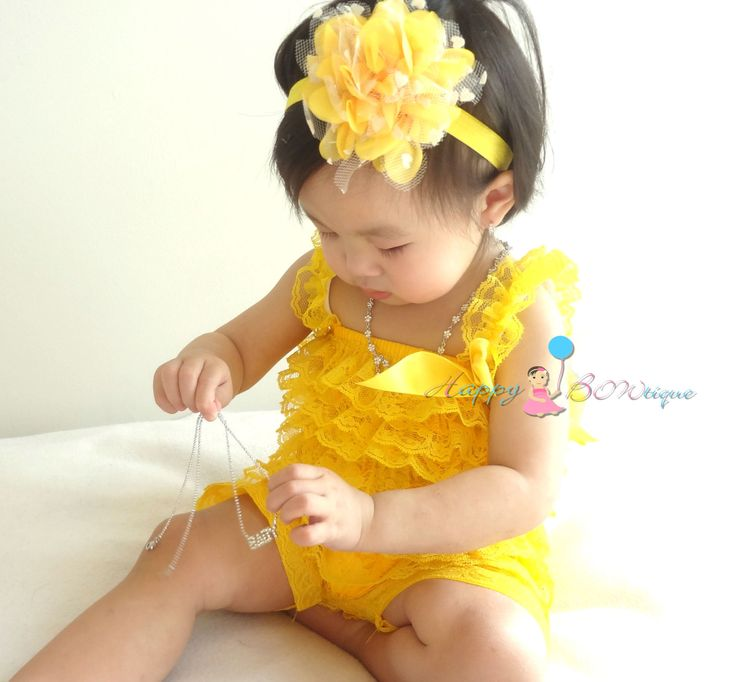 Spring Yellow Petti lace Romper, baby clothing, newborn romper, baby girls birthday outfit, Photography props, baby romper, Spring outfit by HappyBOWtique on Etsy