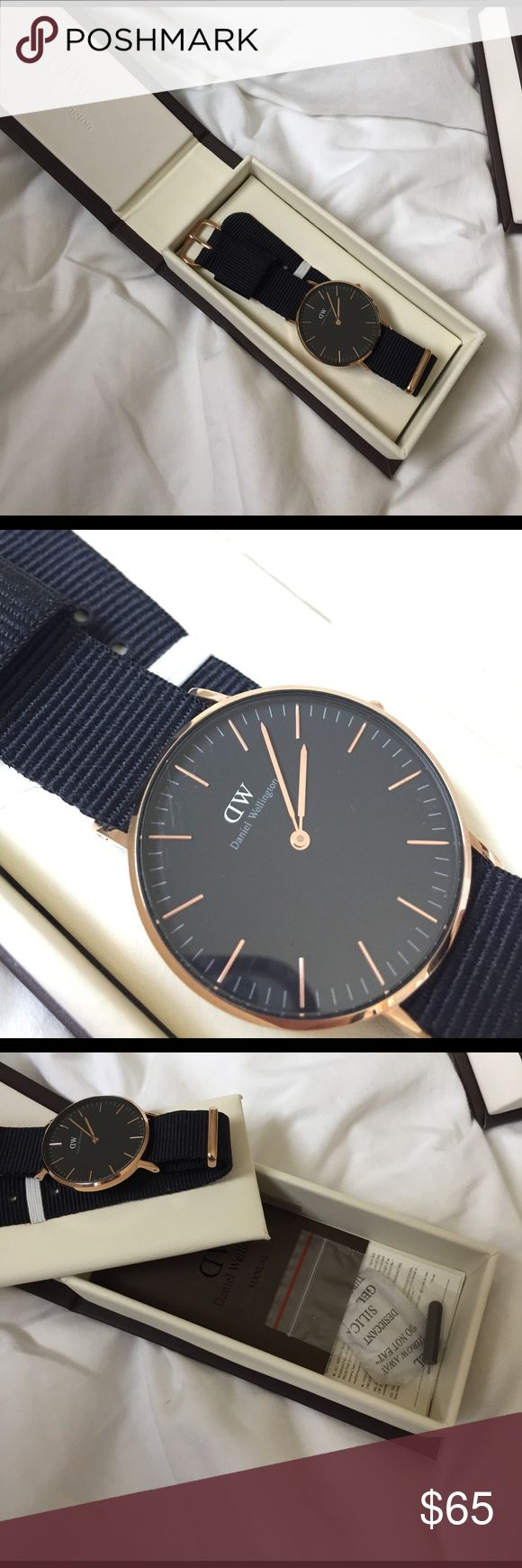 DANIEL WELLINGTON rose gold on black watch NWT slightly scratched face, price reflects this flaw. only worn twice! Daniel Wellington Accessories Watches