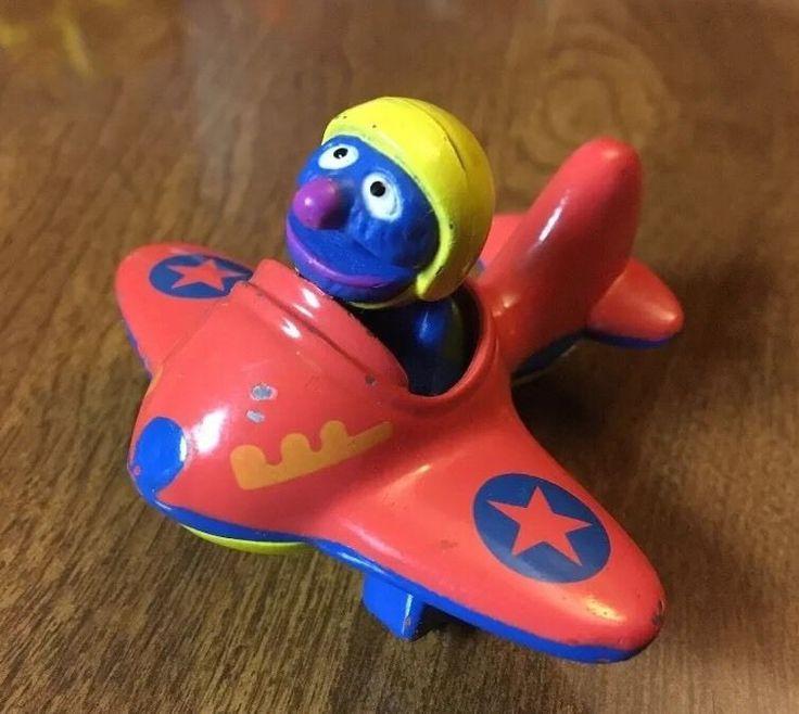 GROVER AIRPLANE Die Cast Metal Sesame Street Cars Muppets Playskool 1986 plane #Playskool