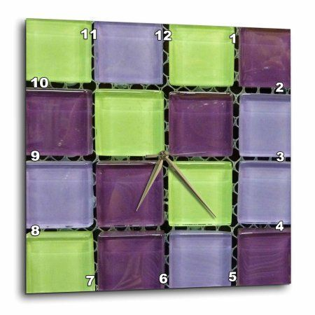 3dRose Popular Green n Purple Glass Tiles On Grid, Wall Clock, 10 by 10-inch