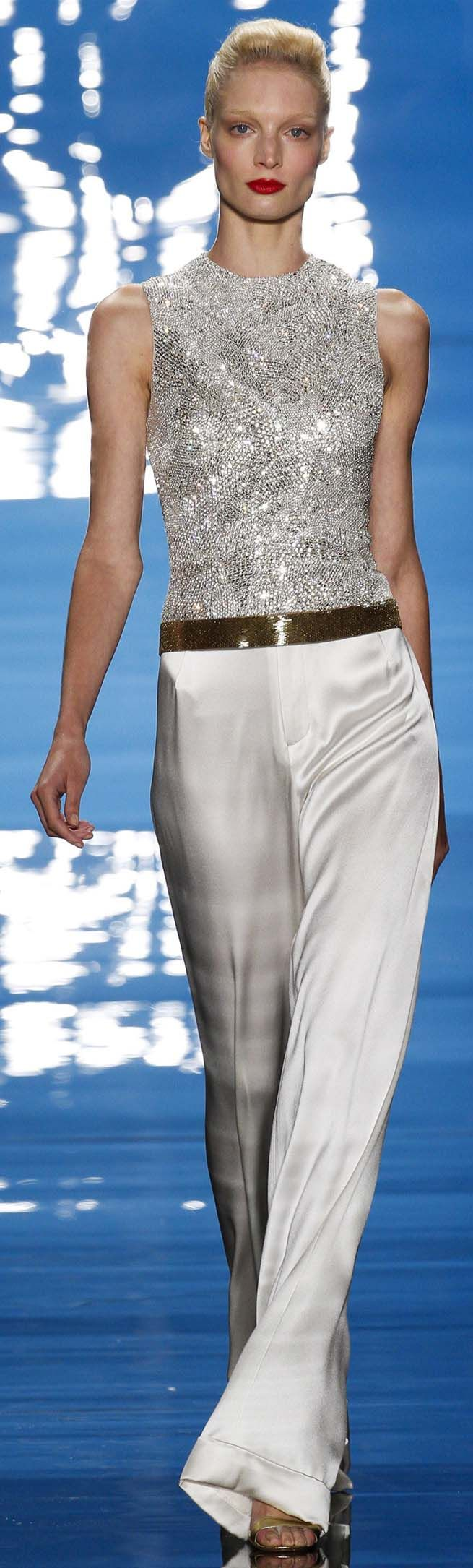 Reem Acra Spring Summer 2013 Ready-To-Wear Collection --beaded top white pants ♥✤