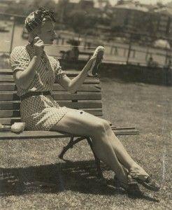 Tatiana Riabouchinska prepares her shoes, Elizabeth Bay, Sydney, c1940