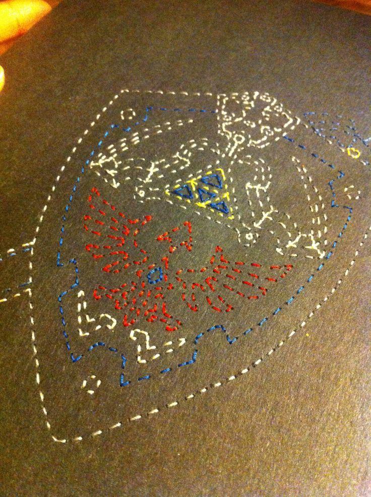 Colour alternate for Link's Hylian Shield & Master Sword Stitched Art by JSA. #JaimiesStitchedArt