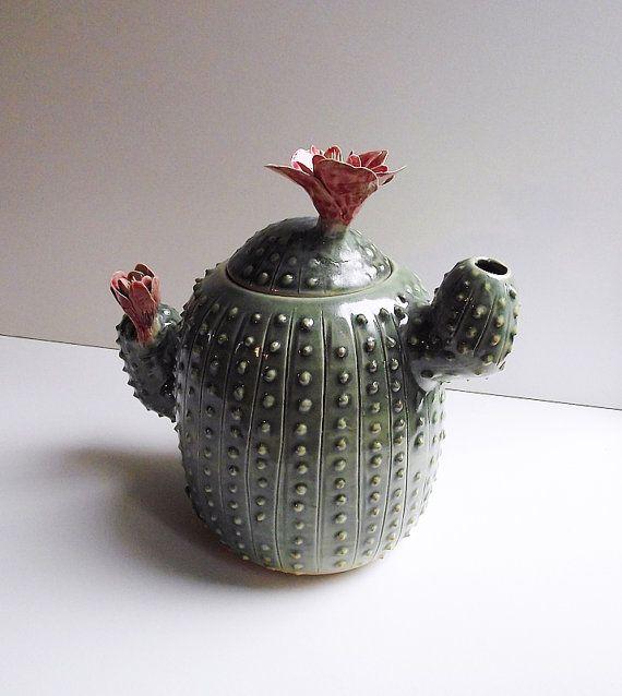 Tetera de cerámica Cactus con flores - hecha a la orden - gres (grès) tetera