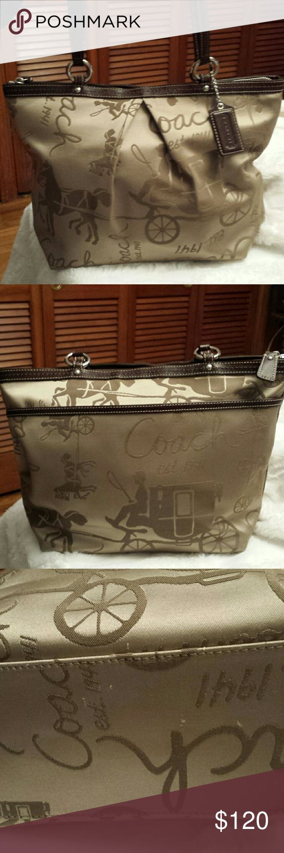 Coach Horse / Carriage Champagne Pleated Tote GORGEOUS!  Coach Horse+ Stagecoach And Carriage Champagne Pleated Tote with Brown leather trim  Creed F14482,  Zippered top,  ring latch,  interior pockets,  exterior pockets.  Great condition but tiny pulls on bottom see pics Coach  Bags Totes