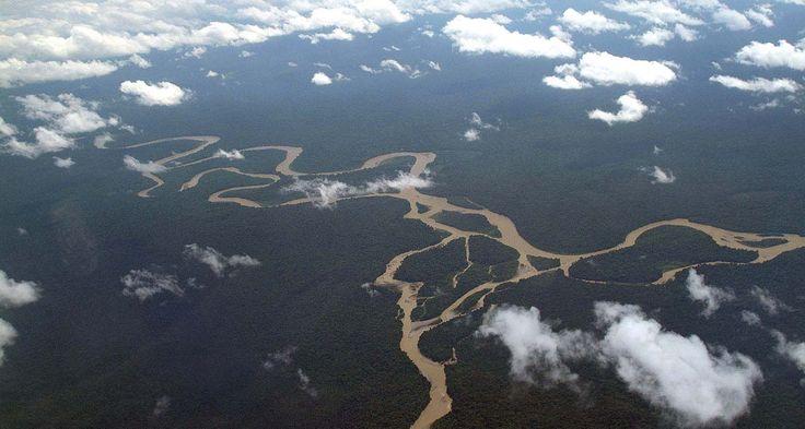 Arial view of the Sepik River PNG