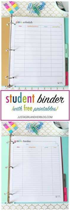 Super cute binder with tons of free printables! There are some that would work for non-students as well! I'm going to be so organized this year! | JustAGirlAndHerBlog.com