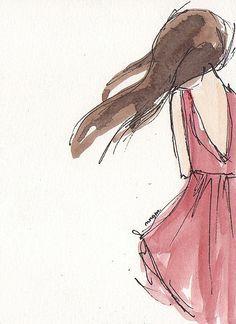 watercolor dress art - Google Search