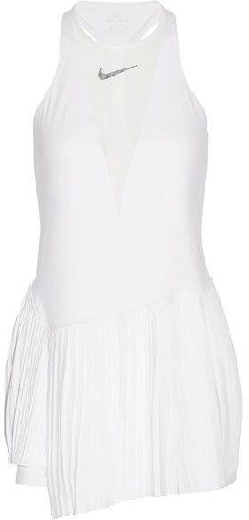 Nike Maria Dri-fit Pleated Mesh-paneled Stretch Tennis Dress - White