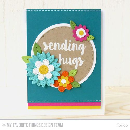 Handmade card from Torico featuring Stitched Flowers Die-namics #mftstamps