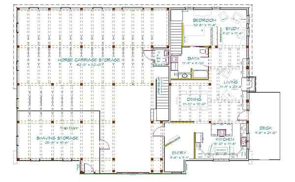 Metal barn with living quarters floor plans mikes barn for Barn plans with living quarters