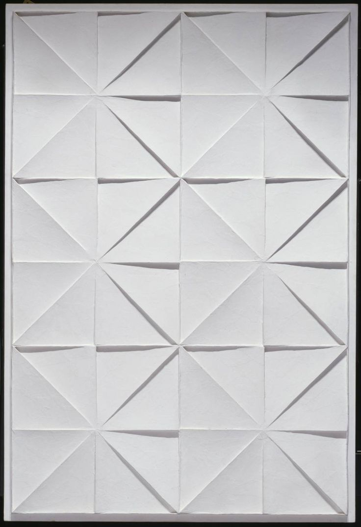 JAN SCHOONHOVEN: R69-26, 1969. Acrylic paint on cardboard and paper on plywood base. 1238 x 838 x 38 mm. COLLECTION Tate Gallery, London.