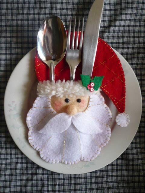 Porta cubiertos navideños: