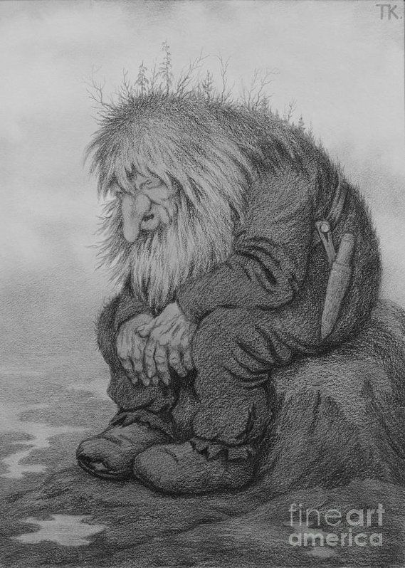 Theodor Kittelsen Art Print featuring the drawing The Troll That Wonders How Old He Is by Theodor Kittelsen