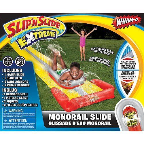 Wham-O Mono Rail Water Slide by Wham-O. $6.99. The 16 foot Slip 'N Slide Extreme Monorail Slide includes 1 water slide, 1 giant sled, 2 slide anchors and 2 repair patches. There's a wall of water on the bumper. Easy set up with Connect-N-Go.