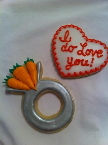 """Three Carat Ring Cookie with """"I do"""" heart cookie.  The Sweetest Thing, LLC - Custom Invites / Favors - Waterford - Wedding.com"""
