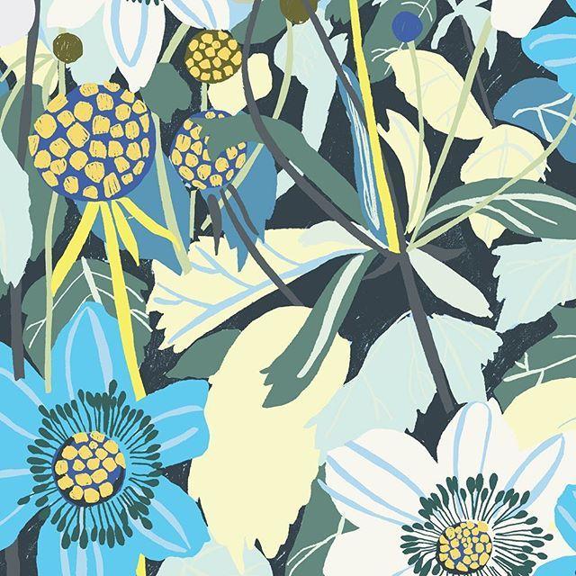 Blå blommor. #patterndesign #mönster #plingsulli #blommor