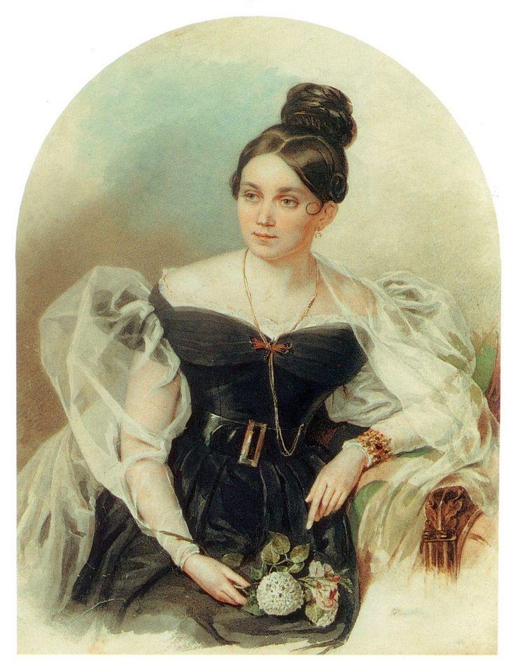 Акварельные портреты Петра Федоровича Соколова   Елена Григорьевна Черткова(1800-1832)