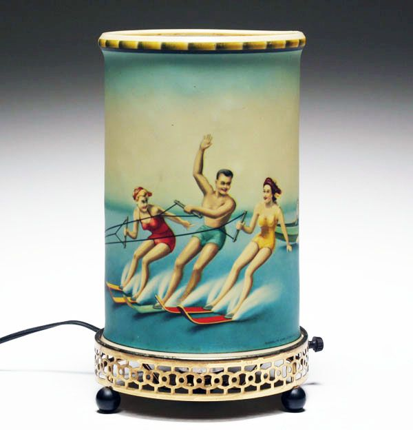 Econolite waterski skiing motion lamp, 1958. Internal spinner is the forest