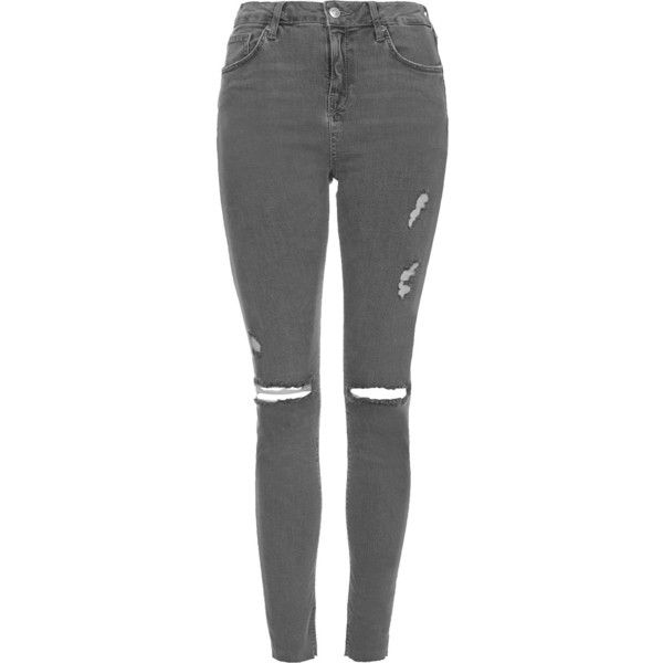 TOPSHOP TALL MOTO Grey Ripped Jamie Jeans ($80) ❤ liked on Polyvore featuring jeans, pants, bottoms, topshop, grey, distressing jeans, ripped jeans, high-waisted jeans, gray jeans and high rise jeans