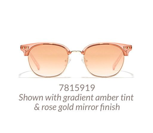 20b1f53060db Fun browline glasses shown in translucent pink option with gradient amber  tint and rose-gold mirror finish.