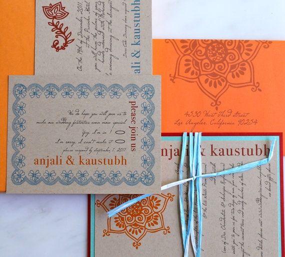 Henna Love  Modern Indian Wedding Invitations Orange by BeaconLane, $100.00 I know I'm not Indian but I love these!!!