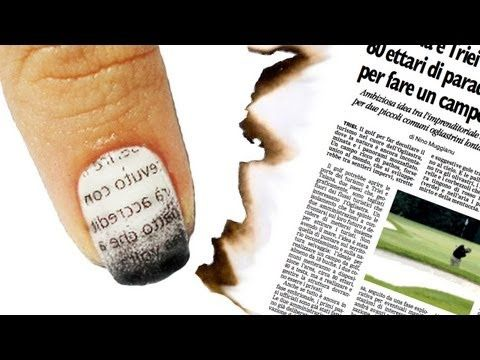 Nail Art Tutorial Giornale Bruciato - Burnt Newspaper Nails - Guardalo