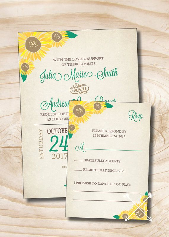 RUSTIC SUNFLOWER Fall Wedding Invitation and Response Card