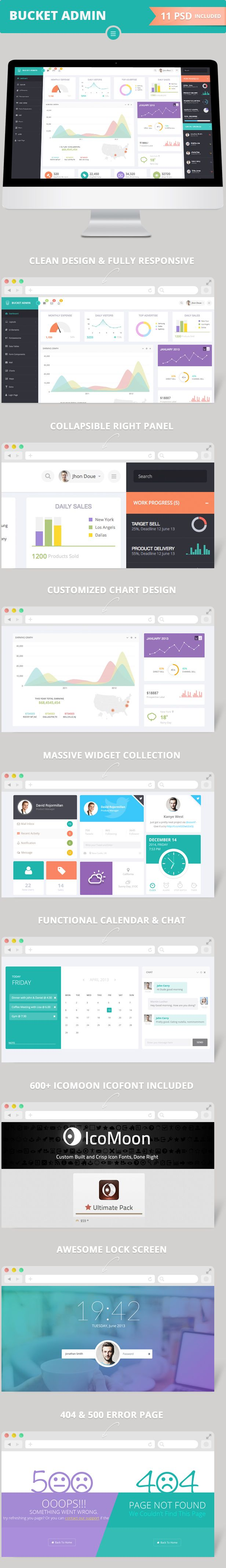 Site Templates - Bucket Admin Bootstrap 3 Responsive Flat Dashboard | ThemeForest