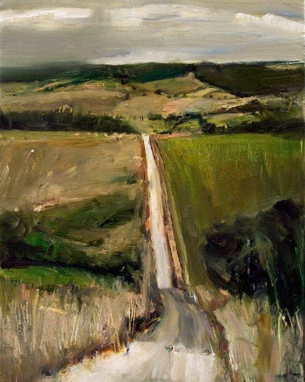 'Road to NoWhere Else' landscape painting by Else Kristian Mumford Australia. Skilfully evoking the warm romantic beauty of the Southern of Australia has made Mumford not only highly collectible but one of a rising generation of artists breathing new life into the Australian figurative & landscape tradition. 'Дорога в никуда' пейзаж в исполнении Ельзе Мамфорда Австралия. Мамфорд умело изображает теплую романтическую красоту Южной Австралии что делает его очень популярным художником…