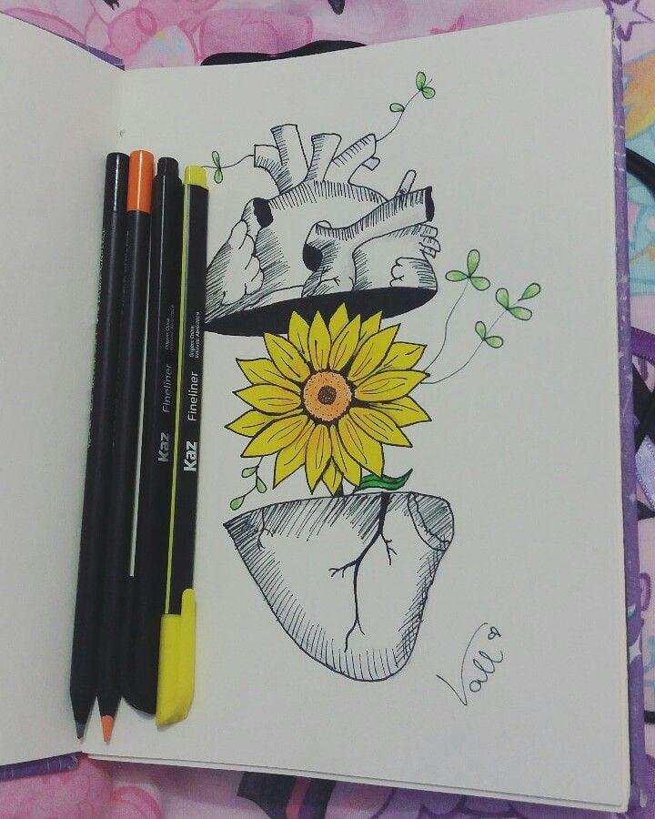 Girassol Coracao Florido Primavera Desenho Tumblr Desenho