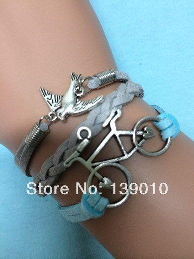 Горячая распродажа серый синий кожаные воск шнур птица велосипедов браслет браслеты Aliexpress горячая распродажа мода женские аксессуары ювелирные изделия
