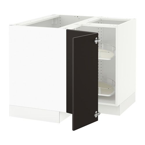 SEKTION Corner base cabinet with carousel - white, Kungsbacka anthracite - IKEA