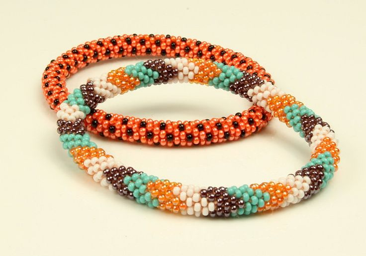 Directly Sold by Makers. Nepali roll on beaded Glass seed bead Bracelets, Handmade by Ramila Beads. 2 pcs Unique Novelty set. by LiftedHope on Etsy